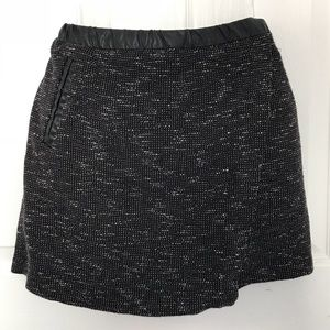Black skirt with Faux leather trim